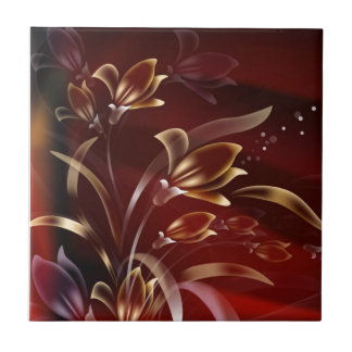 Burgundy Flowers With Bubbles Ceramic Tile
