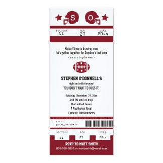 Burgundy Football Ticket Bachelor Party Invitation