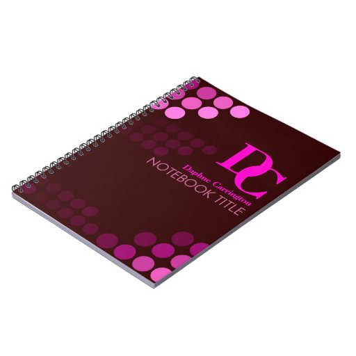 Burgundy Funky Pink Dots Monogram Notebook
