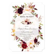 Burgundy Geometric Floral Bridal Shower Tea Party Invitation
