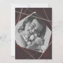Burgundy Geometric Sparkle Photo Holiday Card