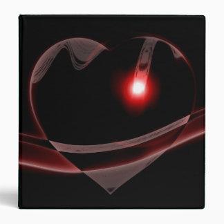 Burgundy Glass Heart Reflects Light 3 Ring Binders