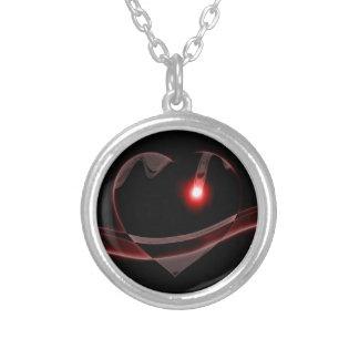 Burgundy Glass Heart Reflects Light Round Pendant Necklace