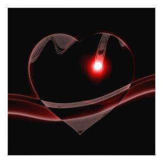 Burgundy Glass Heart Reflects Light Photo Art