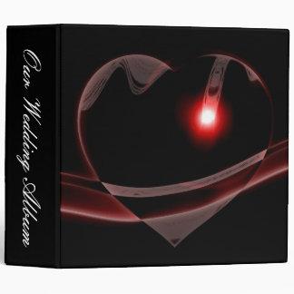 Burgundy Glass Heart Reflects Light Wedding 3 Ring Binders