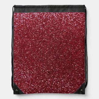 Burgundy glitter drawstring backpack