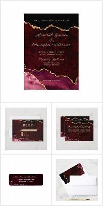 Burgundy Gold Agate Geode Gemstone Wedding Suite