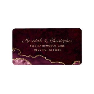 Burgundy Agate Wedding Label