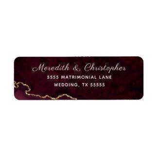 Burgundy Gold Agate Wedding Address Label
