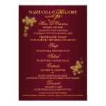 Burgundy gold butterfly wedding menu personalized invites