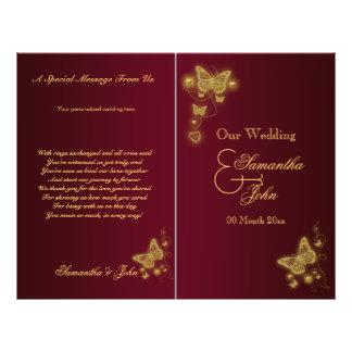 Burgundy gold butterfly wedding program