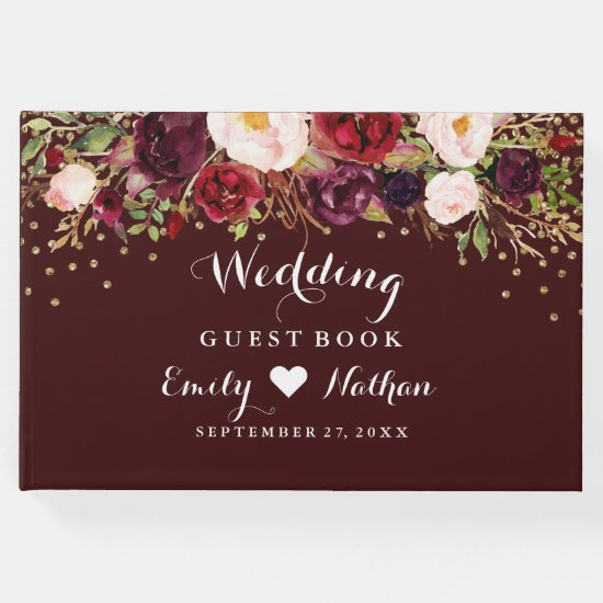 Burgundy Gold Confetti Floral Wedding Guest Book
