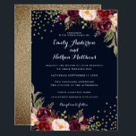 """Burgundy Gold Confetti Floral Wedding Invitation<br><div class=""""desc"""">More pretty Floral Wedding Invitations in the Little Bayleigh store!</div>"""