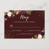 Burgundy Gold Confetti Floral Wedding RSVP