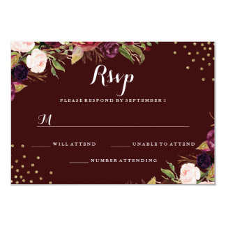 Burgundy Gold Confetti Floral Wedding RSVP Card