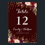 """Burgundy Gold Confetti Floral Wedding Table Number<br><div class=""""desc"""">Matching Wedding Collection in the Little Bayleigh Store!</div>"""