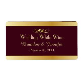 Burgundy & Gold Custom Wedding Mini Wine Labels