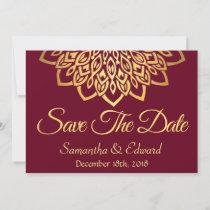 Burgundy Gold Elegant Save the Date Card