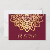 Burgundy Gold Elegant Wedding RSVP Card