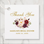 "Burgundy Gold Floral Bridal Shower Thank You Favor Tags<br><div class=""desc"">Watercolor Burgundy Marsala Floral Gold Bridal Shower Thank You Favor Tag</div>"
