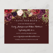 Burgundy Gold Floral Fall Wedding Save The Date