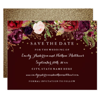 Burgundy Gold Floral Fall Wedding Save The Date Card