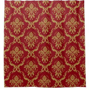 Burgundy Gold Floral Geometric Damasks Shower Curtain