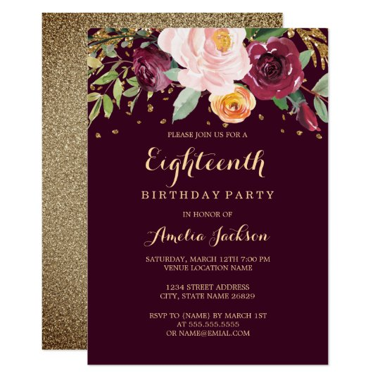Burgundy Gold Floral Glitter 18th Birthday Party Invitation Zazzle Com