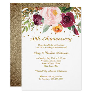 Burgundy Gold Floral Glitter 50th Anniversary Invitation