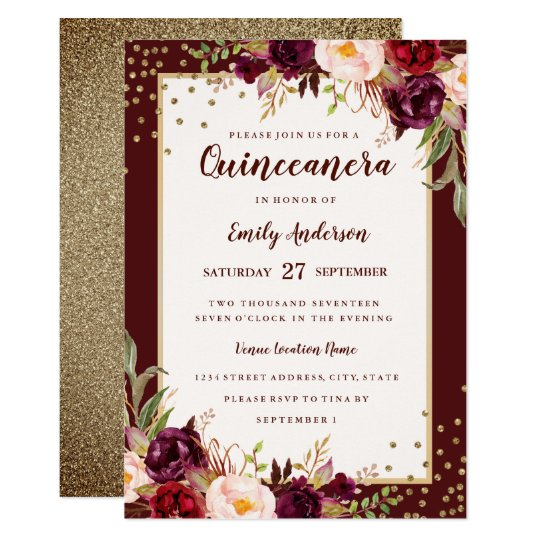 Burgundy Gold Floral Sparkle Quinceanera Invite Zazzle Com
