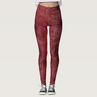 Burgundy Gold Floral Swirl Leggings