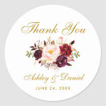 Burgundy Gold Floral Wedding Thank You Classic Round Sticker