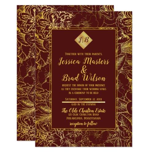 Burgundy Gold Foil Look Vintage Floral Wedding Invitation