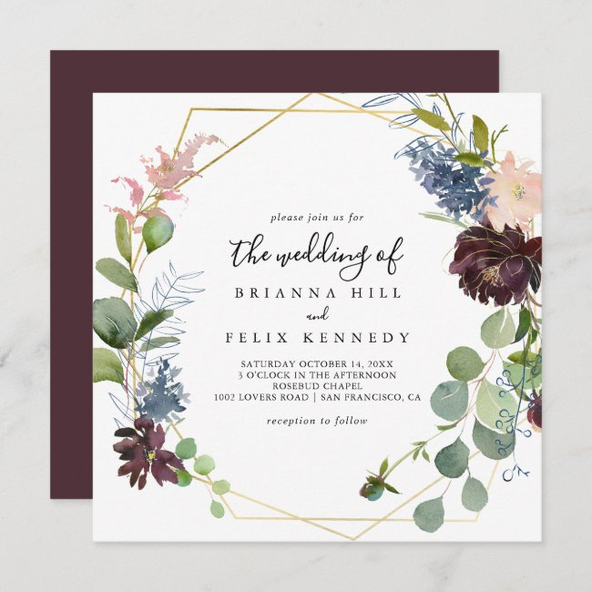 Burgundy Gold Geometric The Wedding Of Invitation