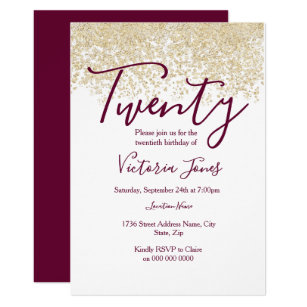 20th birthday invitations announcements zazzle burgundy gold glitter 20th birthday party invite filmwisefo Images