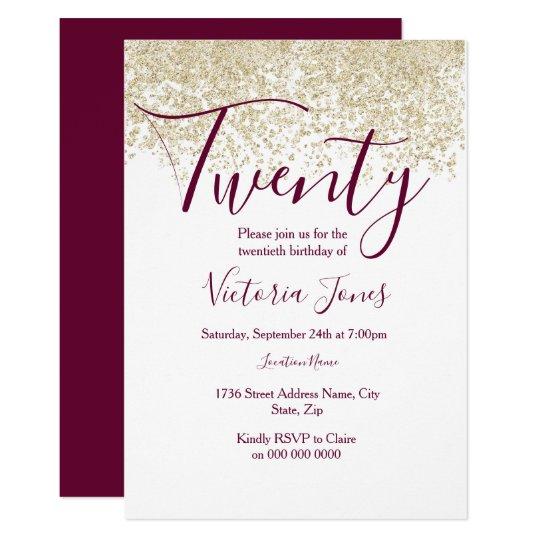 Burgundy Gold Glitter 20th Birthday Party Invite