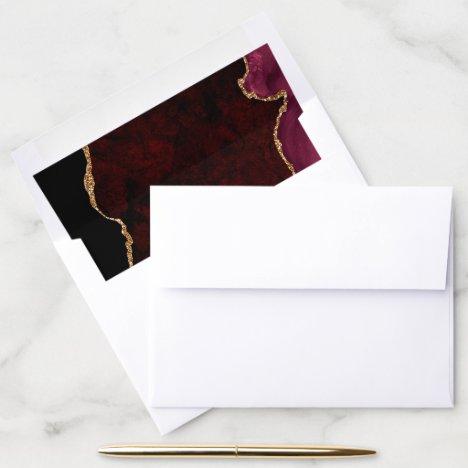 Burgundy Gold Glitter Agate Geode Envelope Liner