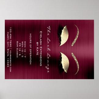 Burgundy Gold Glitter Branding Beauty Lashes Glam Poster
