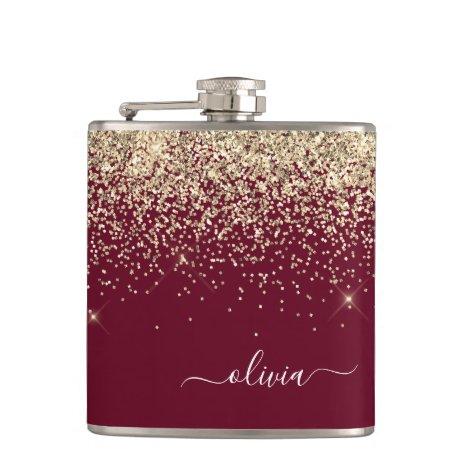 Burgundy Gold Glitter Girly Monogram Glam Flask