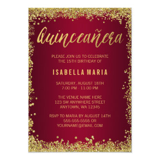 Burgundy Gold Glitter Quinceanera 15th Birthday Card