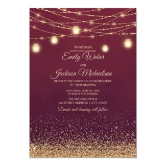 Burgundy Gold Glitter String Lights  Wedding Invitation