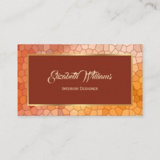 Burgundy Gold Interior Designer Business Card