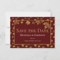 Burgundy & Gold Leaf Save the Date Card