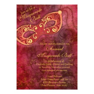 Burgundy Gold Mardi Gras Masquerade Ball Invite
