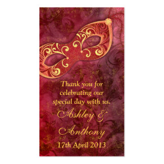 Burgundy Gold Masquerade Wedding Favour Tags Double-Sided Standard Business Cards (Pack Of 100)