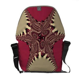 Burgundy+Gold Modern Batik Pattern Messenger Bag