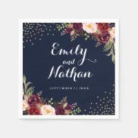 Burgundy Gold Navy Confetti Floral Wedding Napkin