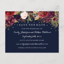 Burgundy Gold Navy Floral Wedding Save The Date