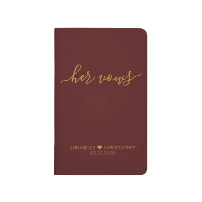Burgundy Gold Personalized Wedding Her Vows Book