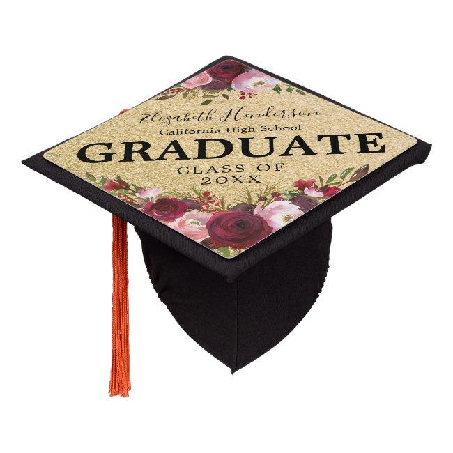 Burgundy Gold Pink Floral Graduation 2020 Graduation Cap Topper